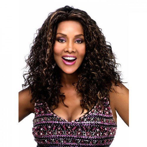Long curly black brown highlight wig