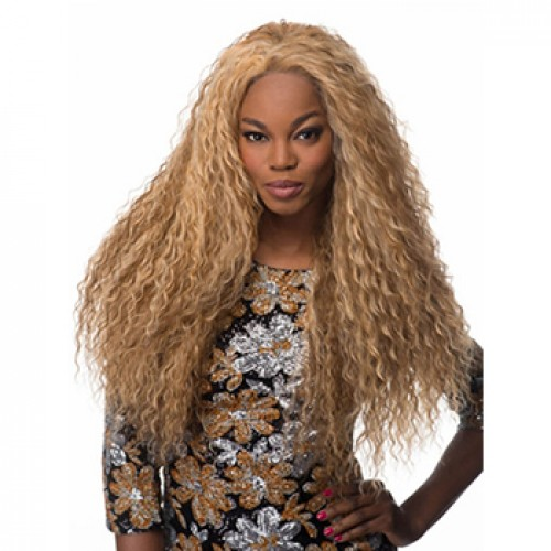 Long curly golden blonde wig
