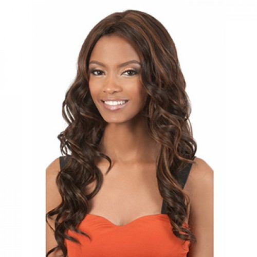 Long wavy Black/Brown highlight wig