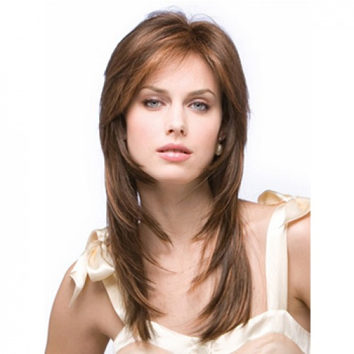 Long wavy medium brown wig