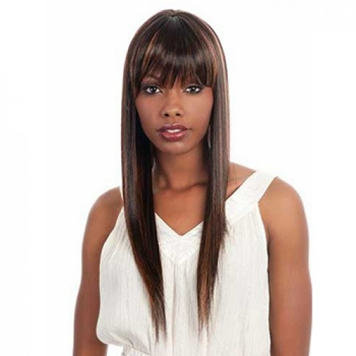 Long Brunette Silky Straight Synthetic Hair Wig