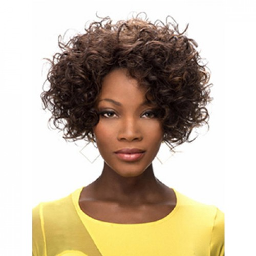 Fashion Fluffy Brown Short Afro Curly Synthetic Wig