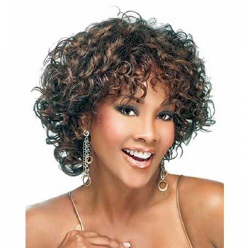 Graceful Hairstyle Natural Short Curly Dark Brown Wig